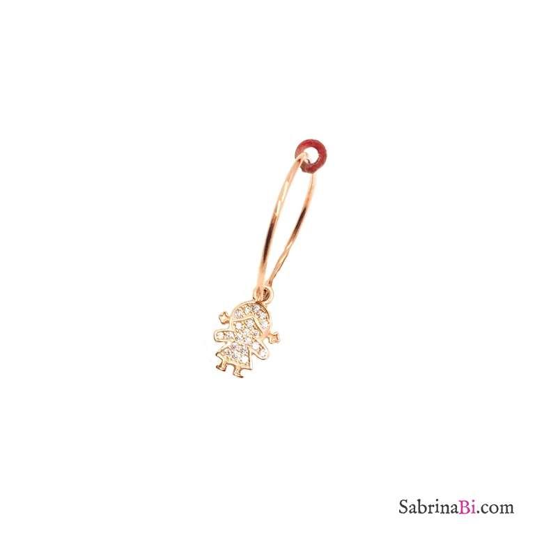 Mono-orecchino a cerchio 1,5cm argento 925 oro rosa bambina Zirconi