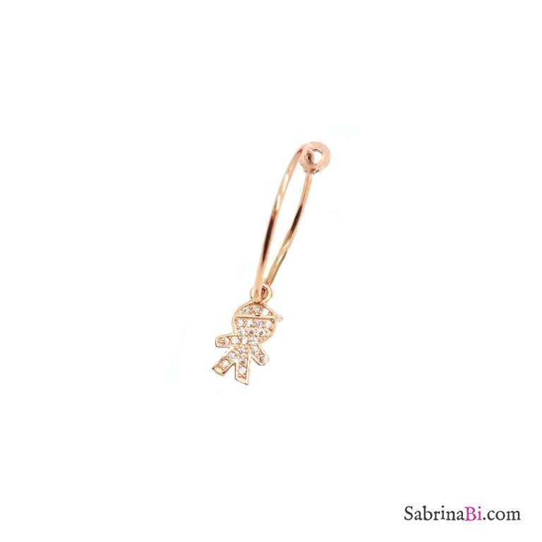 Mono-orecchino a cerchio 1,5cm argento 925 oro rosa bambino Zirconi