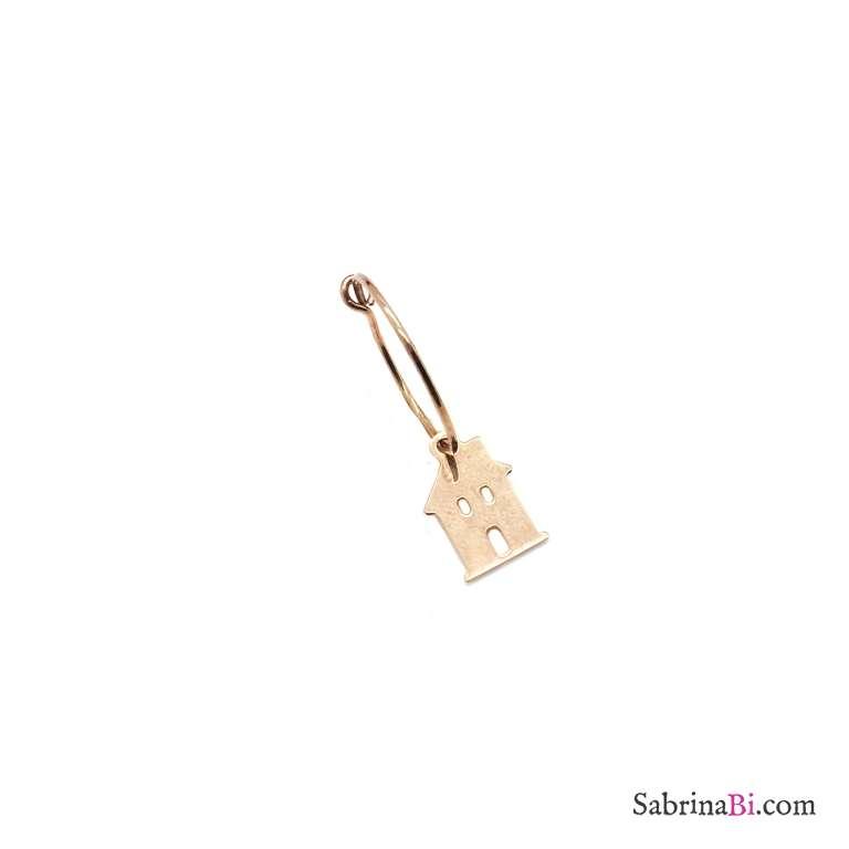 Mono-orecchino a cerchio 1,5cm argento 925 oro rosa casetta