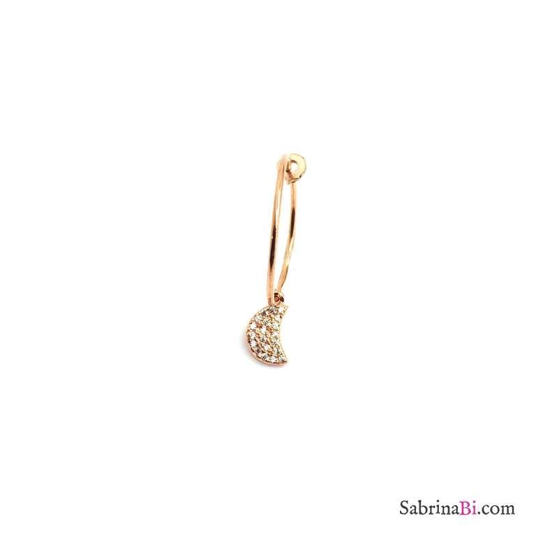 Mono-orecchino a cerchio 1,5cm argento 925 oro rosa luna Zirconi
