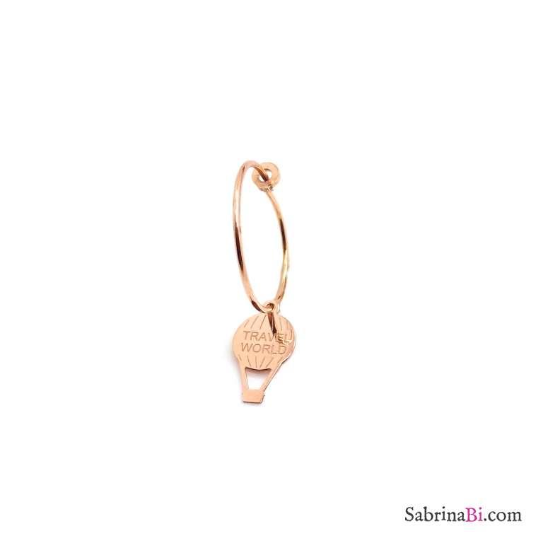 Mono-orecchino a cerchio 1,5cm argento 925 oro rosa mongolfiera