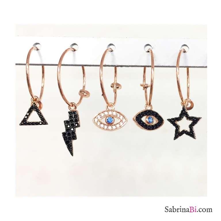 Mono-orecchino a cerchio 1,5cm argento 925 oro rosa Occhio Allah Zirconi neri