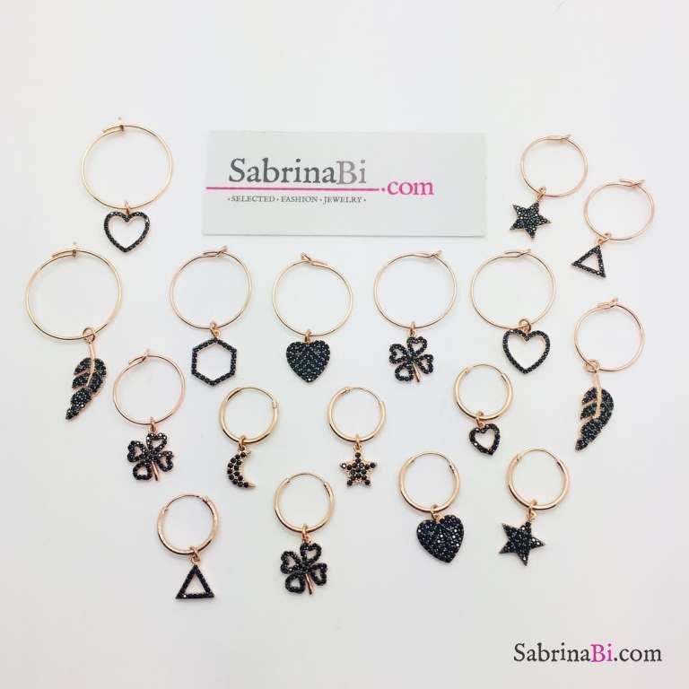 Mono-orecchino a cerchio 1cm argento 925 oro rosa Cuore Zirconi neri