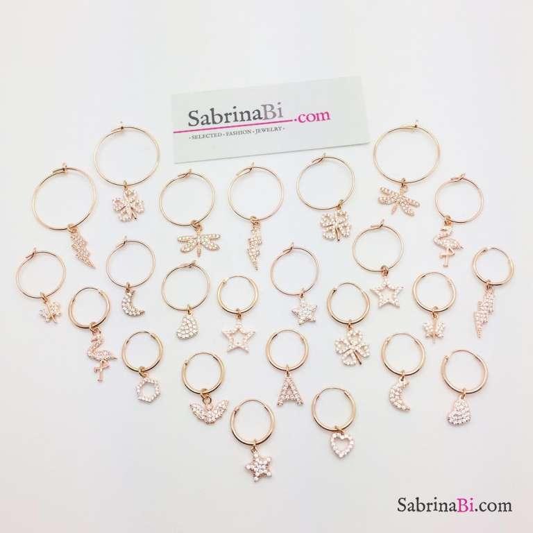 Mono-orecchino a cerchio 1cm argento 925 oro rosa Fulmine Zirconi