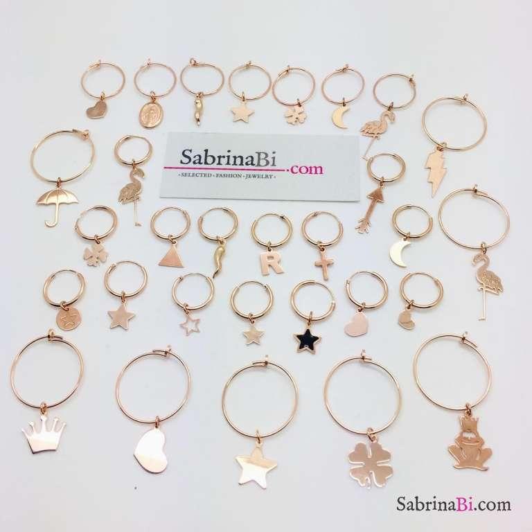 Mono-orecchino a cerchio 1cm argento 925 oro rosa mini stella incisa