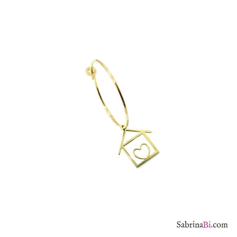 Mono-orecchino a cerchio 2cm argento 925 oro giallo Casetta cuore