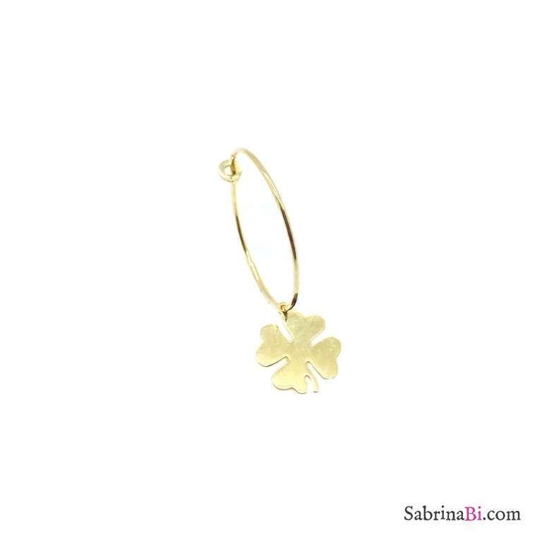 Clover yellow gold sterling silver 2cm hoop mono-earring