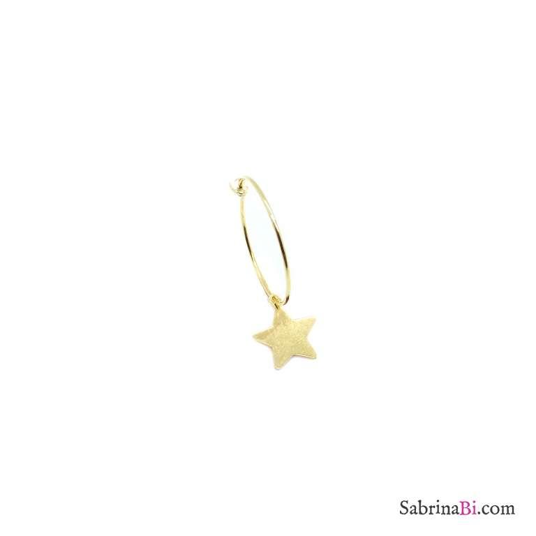 Star yellow gold sterling silver 2cm hoop mono-earring