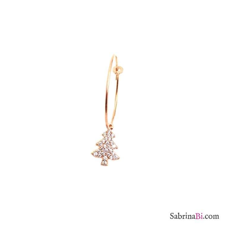 Mono-orecchino a cerchio 2cm argento 925 oro rosa Albero di Natale