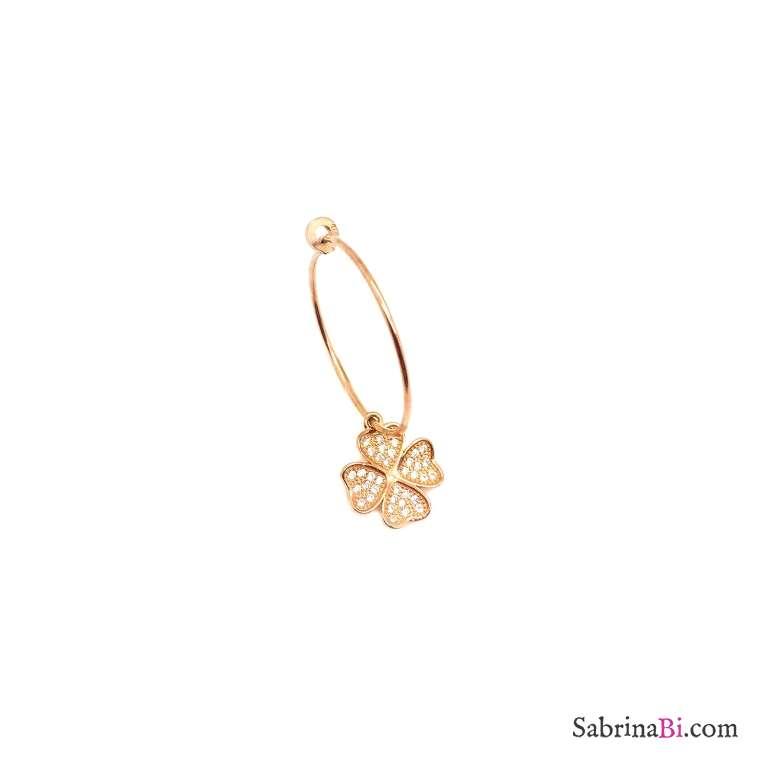Mono-orecchino a cerchio 2cm argento 925 oro rosa Quadrifoglio Zirconi big