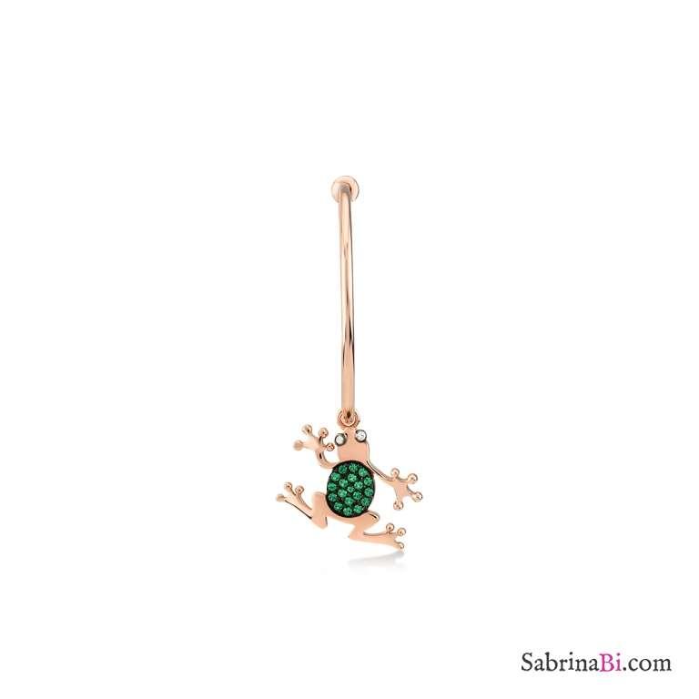 Mono-Orecchino a cerchio argento 925 oro rosa Principe Ranocchio brillanti verdi