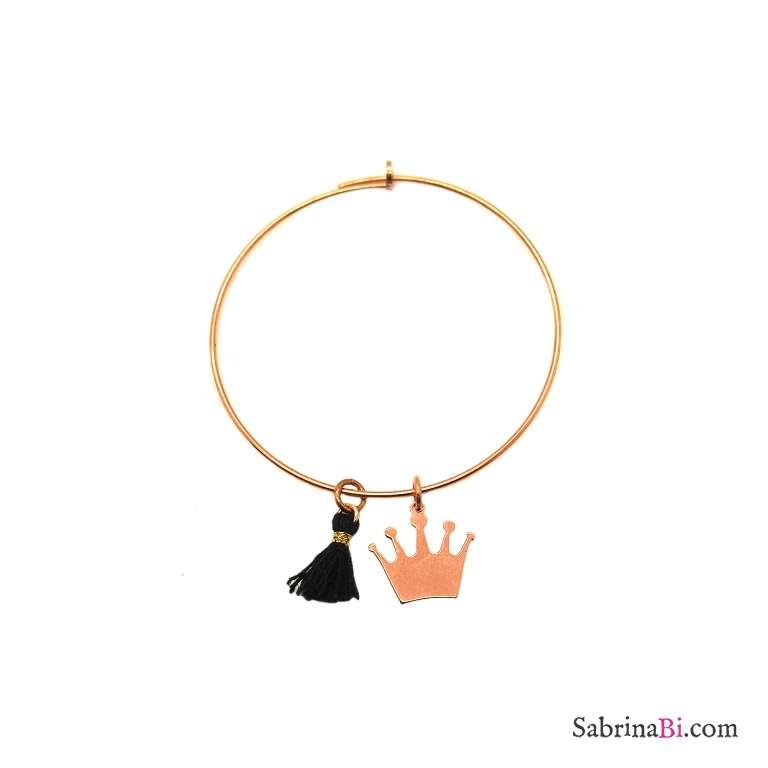 Mono-orecchino a cerchio grande argento 925 oro rosa Corona e nappina