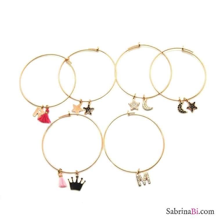 Mono-orecchino a cerchio grande argento 925 oro rosa Lettera iniziale nome e nappina