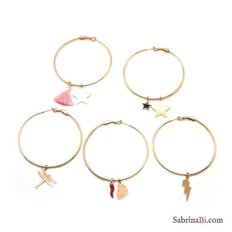 Mono-orecchino a cerchio maxi argento 925 oro rosa Cuore e cornetto rosso