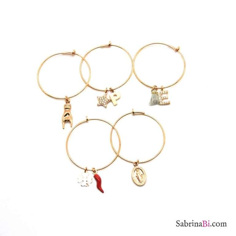 Mono-orecchino a cerchio medio argento 925 oro rosa Quadrifoglio + Cornetto rosso