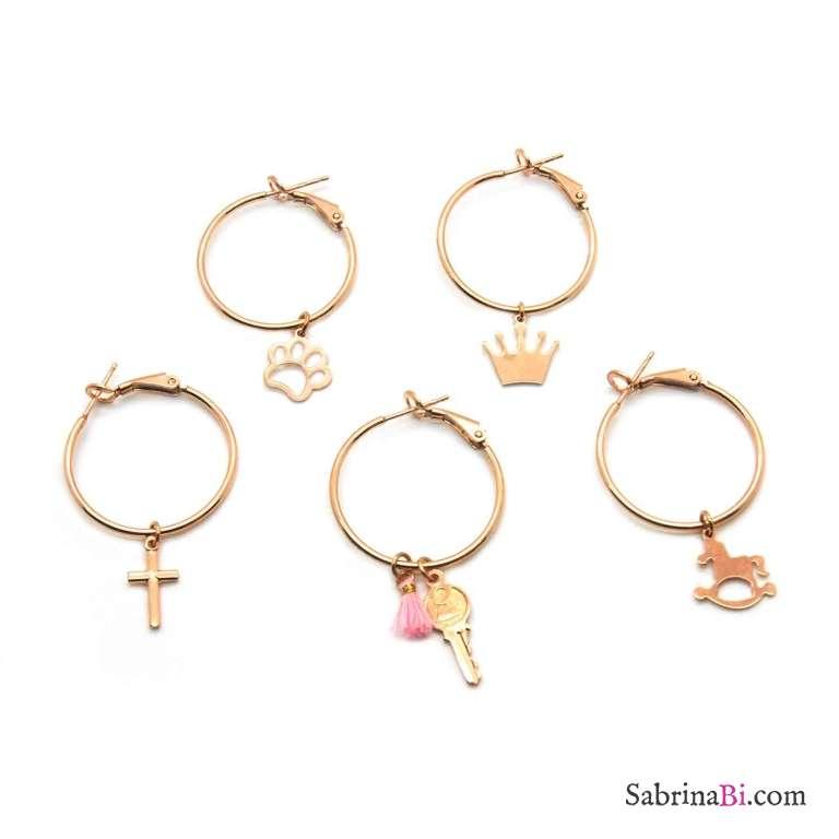 Mono-orecchino a cerchio midi argento 925 oro rosa Croce