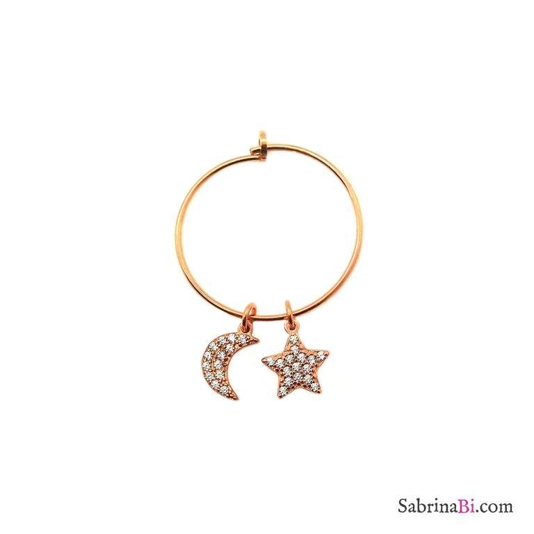 Mono-orecchino a cerchio midi argento 925 oro rosa Luna + Stella Zirconi