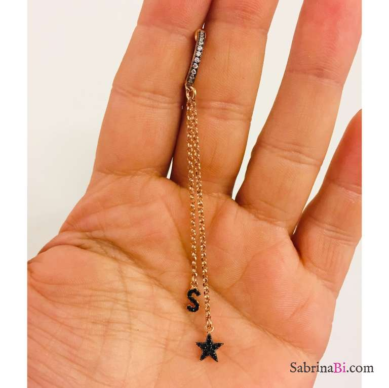 Mono orecchino a cerchio zirconato catene argento 925 oro rosa lettera e stella Zirconi neri