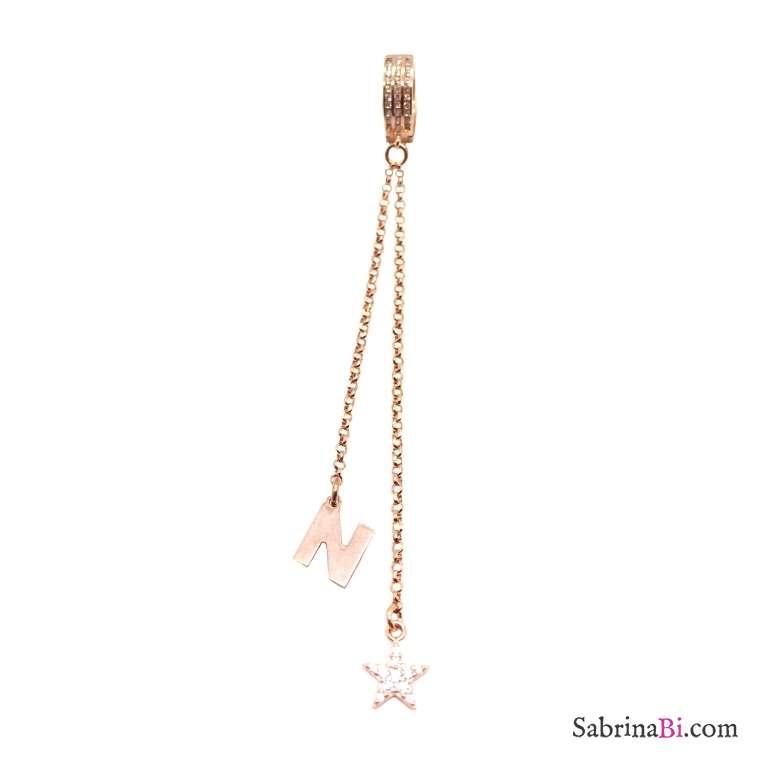 Mono orecchino a cerchio zirconato catene argento 925 oro rosa stella Zirconi e lettera