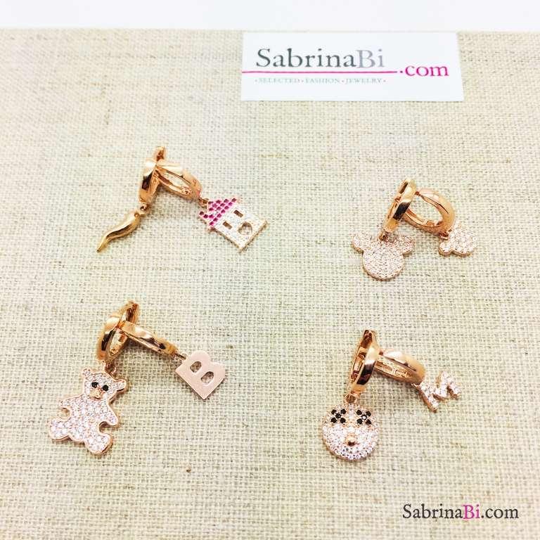 Mono orecchino cerchio 0,80 argento 925 oro rosa Come-vuoi-tu