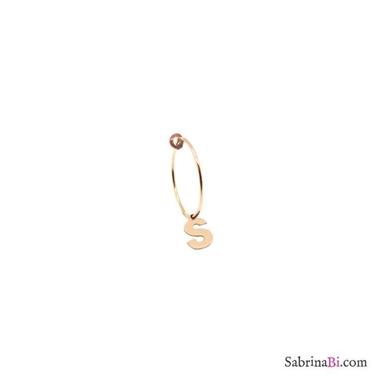 Mono-orecchino cerchio 1,5cm argento 925 oro rosa Lettera iniziale nome
