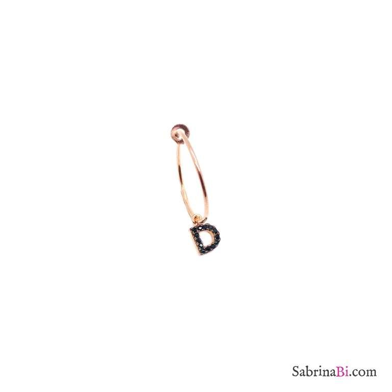 Mono-orecchino cerchio 1,5cm argento 925 oro rosa Lettera iniziale nome Zirconi neri piccola