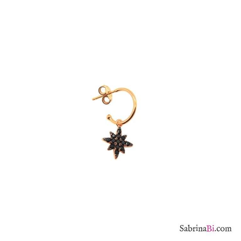 Mono orecchino cerchio 1cm argento 925 oro rosa Stella del Nord Zirconi neri