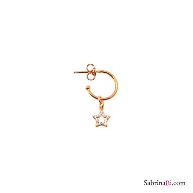 Mono orecchino cerchio 1cm argento 925 oro rosa Stella vuota Zirconi