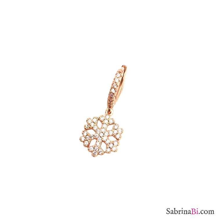 Mono orecchino cerchio 1cm zirconato argento 925 oro rosa Fiocco di neve Zirconi