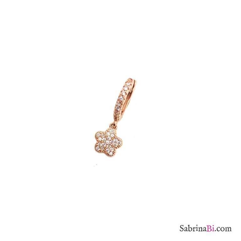 Mono orecchino cerchio 1cm zirconato argento 925 oro rosa fiore Zirconi