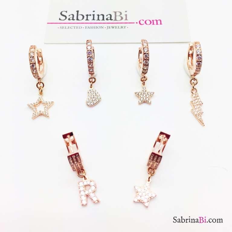 Mono-orecchino cerchio 1cm zirconato argento 925 oro rosa Fulmine Zirconi