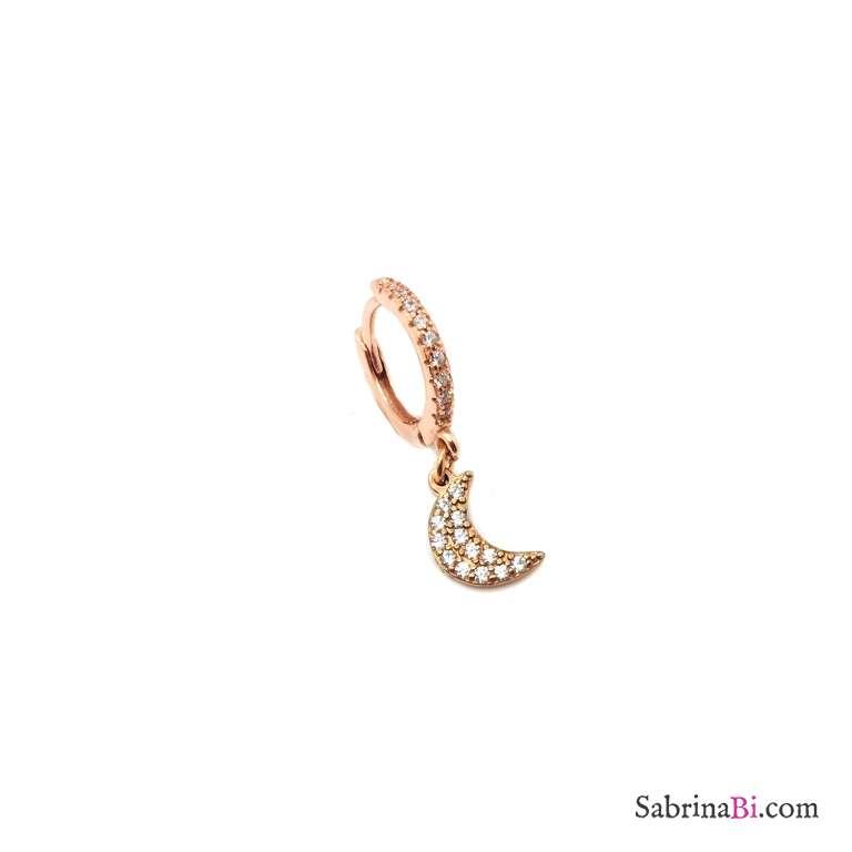 Mono orecchino cerchio 1cm zirconato argento 925 oro rosa luna Zirconi