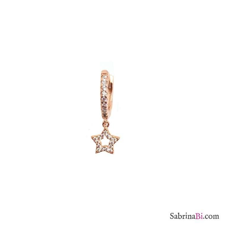 Mono orecchino cerchio 1cm zirconato argento 925 oro rosa mini stella vuota Zirconi