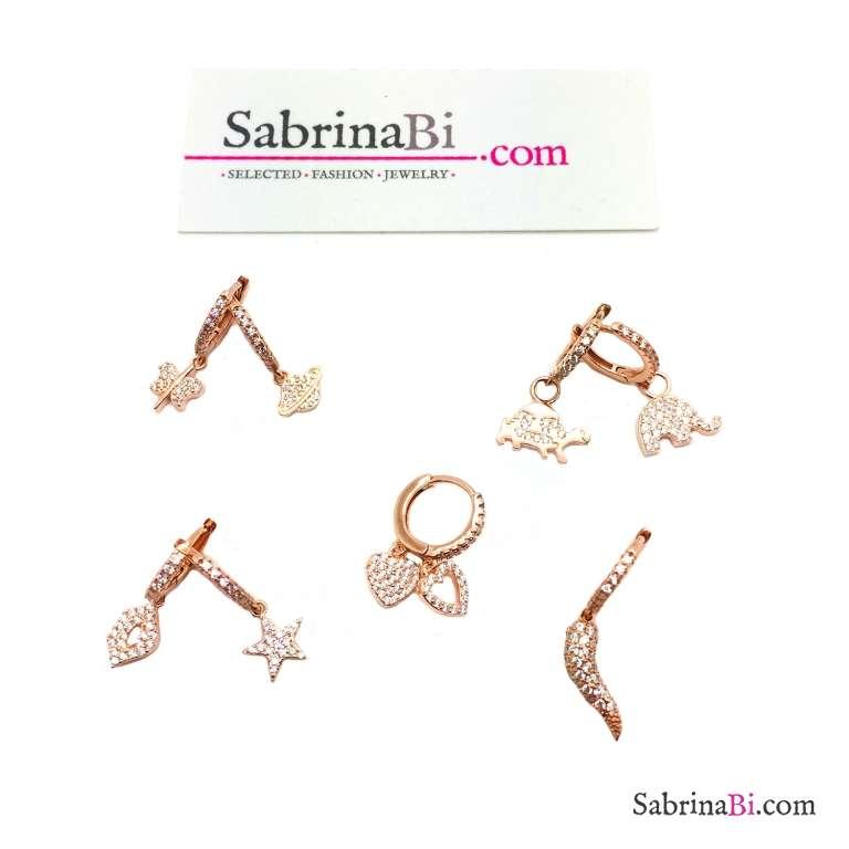 Mono orecchino cerchio argento 925 oro rosa 1cm zirconato e charm