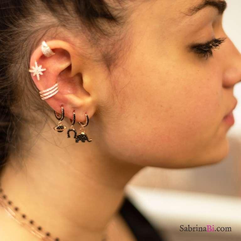 Mono orecchino cerchio argento 925 oro rosa 1cm zirconato nero e charm