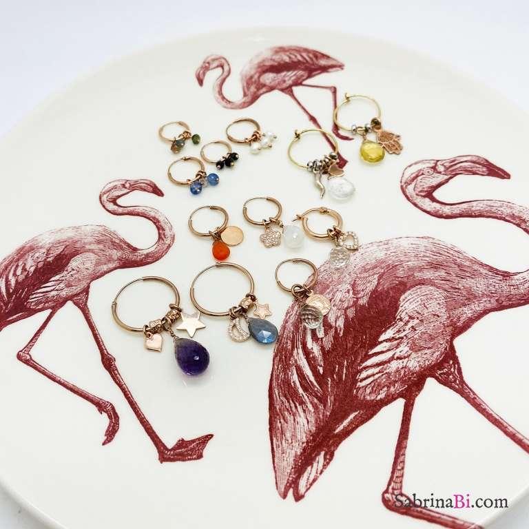 Mono orecchino cerchio argento 925 oro rosa Acquamarina