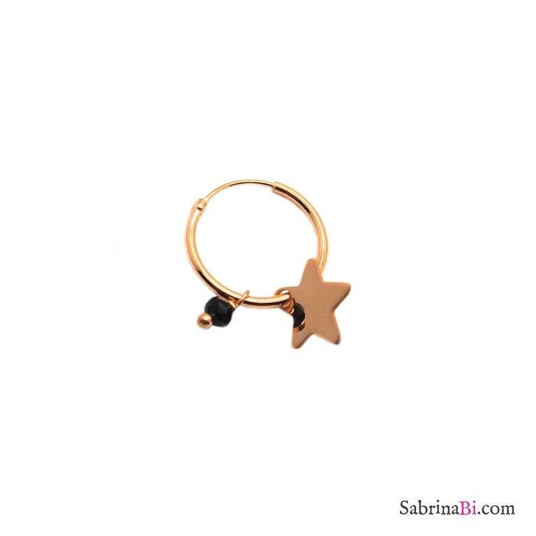 Mono orecchino cerchio argento 925 oro rosa Stella e Zircone nero