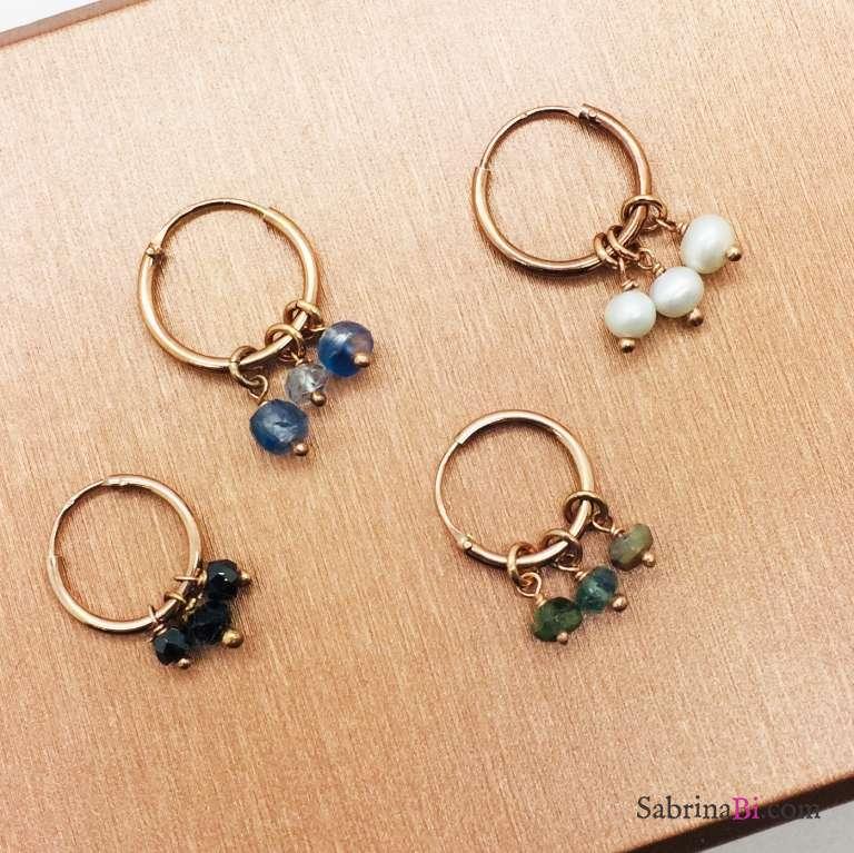 Mono orecchino cerchio argento 925 oro rosa Tris