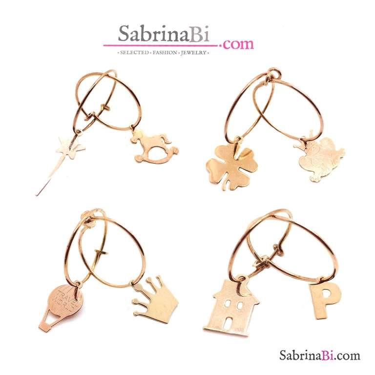Mono orecchino cerchio filo 1,5 cm. argento 925 oro rosa + charm a scelta