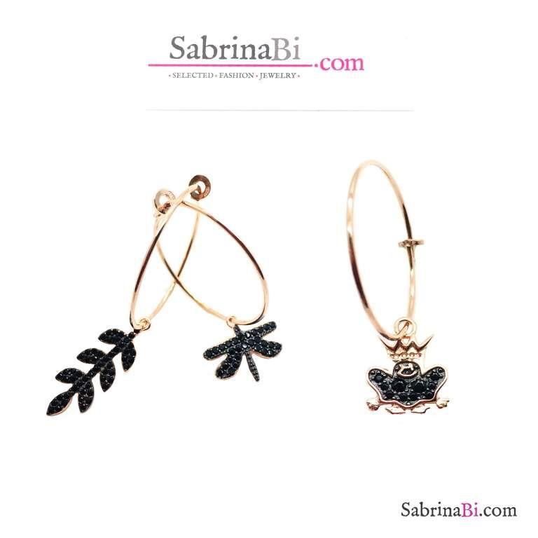 Mono orecchino cerchio filo argento 925 oro rosa 2cm + charm Zirconi neri