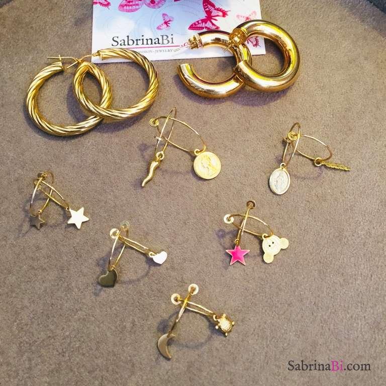 Mono orecchino cerchio filo sottile argento 925 oro giallo + charm oro giallo a scelta