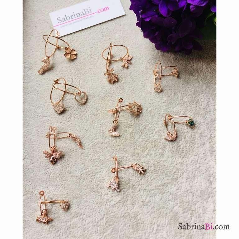 Mono orecchino cerchio filo sottile argento 925 oro rosa + charm Zirconi a scelta