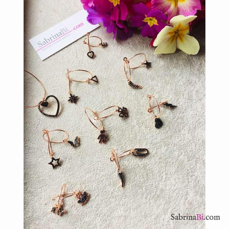 Mono orecchino cerchio filo sottile argento 925 oro rosa + charm Zirconi neri a scelta