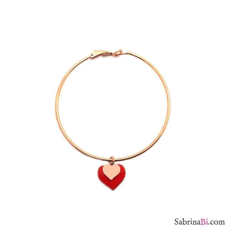 Mono-orecchino cerchio maxi argento 925 oro rosa doppio cuore