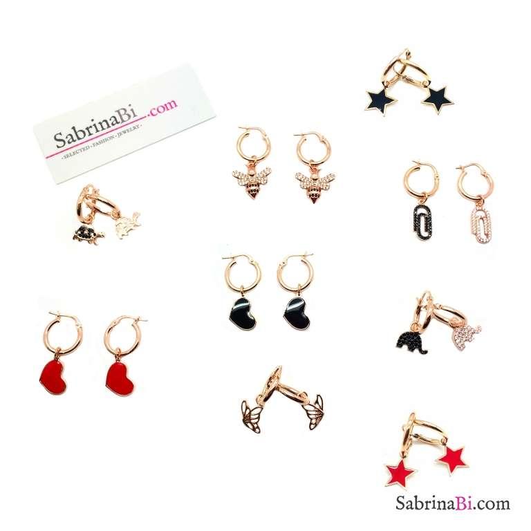 Mono orecchino cerchio spesso argento 925 oro rosa 1cm e charm a scelta