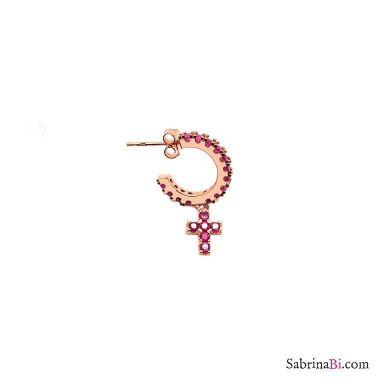 Mono orecchino cerchio zirconato argento 925 oro rosa croce Zirconi rubino