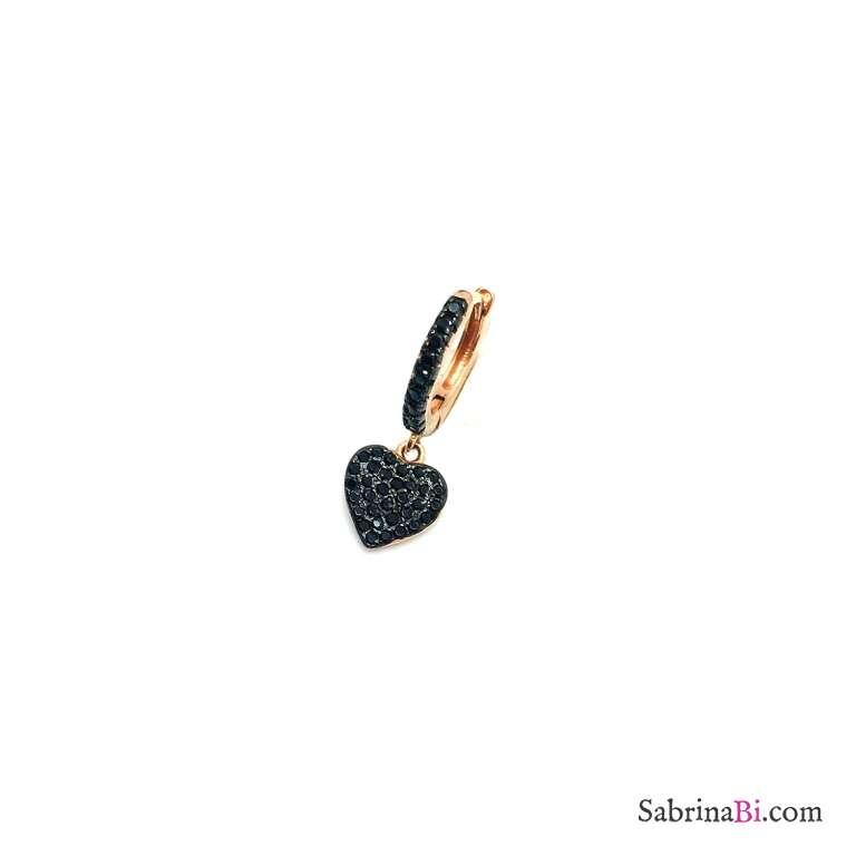 Mono orecchino cerchio zirconato nero 1cm argento 925 oro rosa cuore pieno Zirconi neri