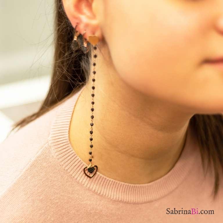 Mono orecchino lunghissimo argento 925 oro rosa rosario Spinelli neri doppio cuore