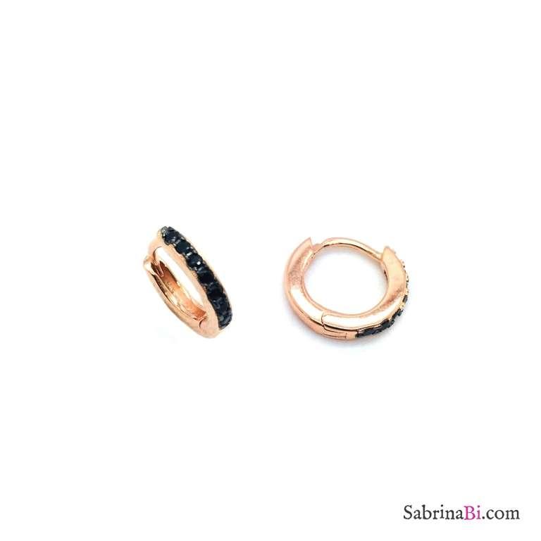 Mono orecchino micro cerchio 1cm. zirconato nero argento 925 oro rosa