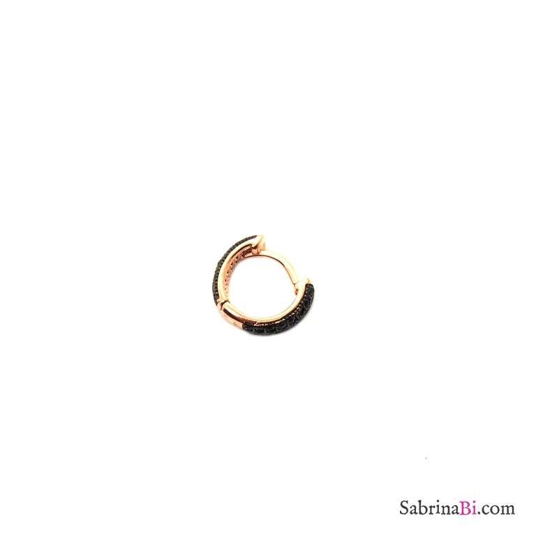 Mono orecchino mini cerchio argento 925 oro rosa Zirconi neri